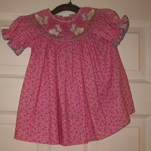 Claire and Charlie smocked Easter dress